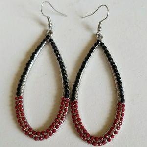 RED & BLACK RHINESTONE HOOP earrings